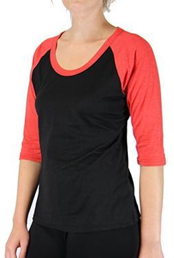 Energi Women's Casual Baseball T Shirt Cotton/ Poly 3/4 Ragl