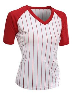 Women's Casual Cool Max Striped Short sleeve basebALL V-neck