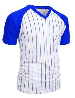 Men's Casual Cool Max Striped Short sleeve basebALL V-neck T