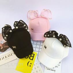 Children Baseball Cap Girls Snapback Caps Rabbit Ear Pearl B