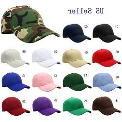 Classic Plain Baseball Cap Hat Adjustable Size Solid Color