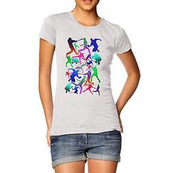 Women Cotton Cool Sport Design Baseball Pattern Print T-Shir