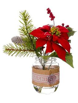 """9.5"""" Country Cabin Artificial Poinsettia, Berries and Pine T"""