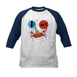 CafePress - Crab 4th Birthday Kids Baseball Jersey - Kids Co