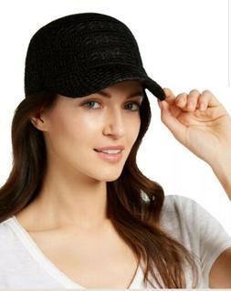 crochet packable baseball cap black