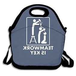Custom Teamwork Reusable Ziplock Crossbody Picnic Bag Design