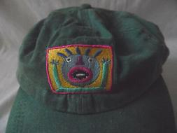 ADAMS D. GREEN CRAZY FACE MBROIDERY BASEBALL CAP HAT VISOR A