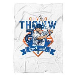 "David Wright Field B New York Fleece Blanket 60"" x 80"" White"