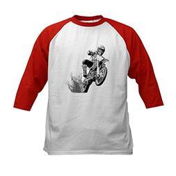 CafePress - Dirtbike Wheeling in Mud Kids Baseball Jersey -