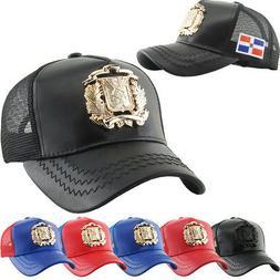Dominican Republic Emblem DR PU Leather Mesh Baseball Cap Ha
