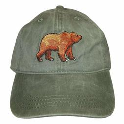 eco wear embroidered grizzly bear wildlife baseball