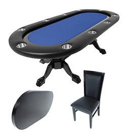 BBO Poker Elite Poker Table for 10 Players with Blue Felt Pl
