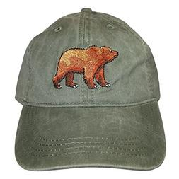 embroidered grizzly bear wildlife baseball cap