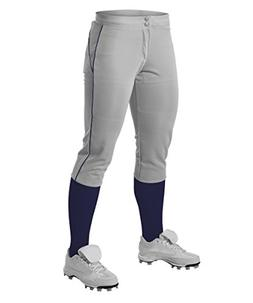 Alleson Women's Fastpitch Pants with Piping - Grey/Navy - Me