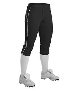Alleson Girl's Fastpitch Pants with Piping - Black/White - L