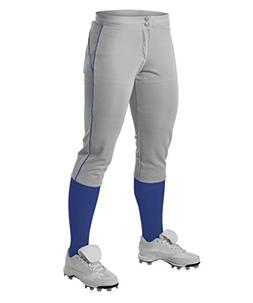Alleson Women's Fastpitch Pants with Piping - Grey/Royal - S
