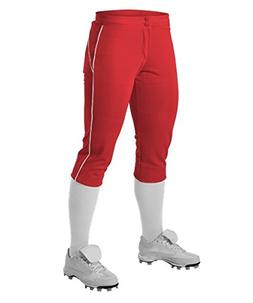 Alleson Girl's Fastpitch Pants with Piping - Scarlet/White -
