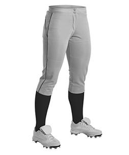 Alleson Girl's Fastpitch Pants with Piping - Grey/Black - La