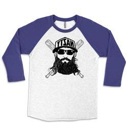 Fear The Nazty Beard Baseball Unisex Triblend Raglan 3/4 Sle