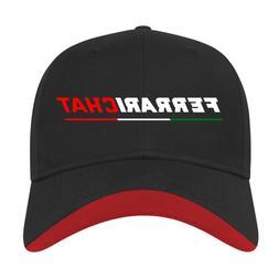 Ferrari Chat Baseball Cap - Black with Red Trim