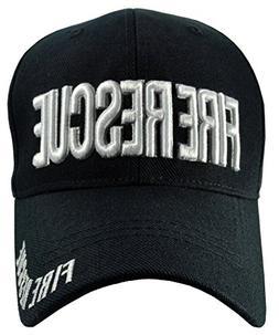 Fire Rescue Black Hat Black Brim White Embroidered Baseball