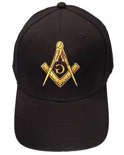 Freemason's Baseball Cap - Black Hat with Golden Standard Ma