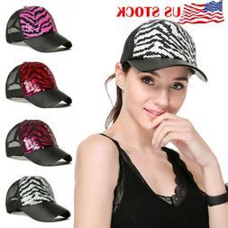 Glitter Ponytail Baseball Cap Women Snapback Summer Mesh Hat