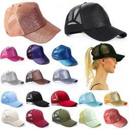 Glitter Ponytail Baseball Caps Women Messy Bun Adjustable Sn