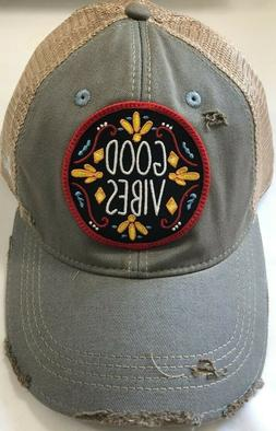 GOOD VIBES BASEBALL CAP DISTRESSED SNAP BACK, BLU PEARL HATS