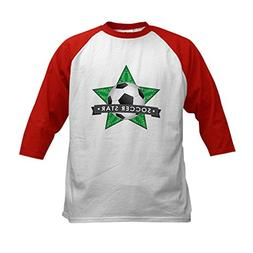 CafePress - Green Soccer Star Stitched Kids Baseball Jersey