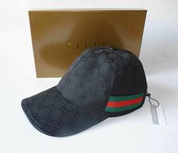 GUCCI HAT Black,MEN'S/WOMEN,CANVAS BASEBALL CAP,ADJUSTABLE,S