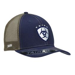 Ariat Mens Hat Baseball Cap Mesh Back Snap Shield Logo Navy