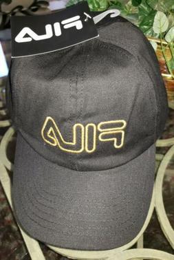Fila Hat Cap Strap Back w/ Gold-tone Metallic Logo Adjustabl