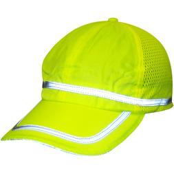 Hi Visibility lime baseball cap w/reflective striping, P/N#