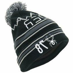 Spyder ICEBOX Men's Knit Winter Ski Pom Hat Beanie - black -