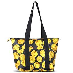 Zodaca Large Insulated Lunch Tote Bag, Yellow Softball