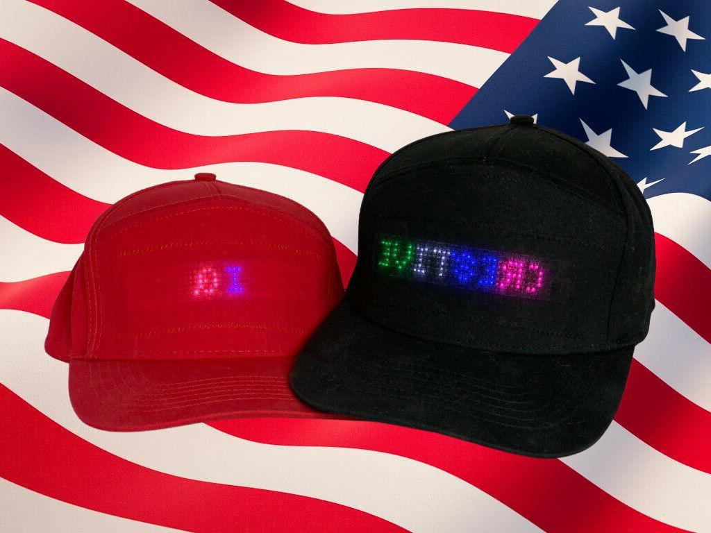 4 color led scrolling display baseball cap