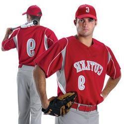 Alleson 529 Baseball Jersey Adult Scarlet/Grey/White/LRG