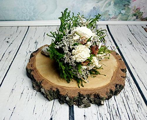 Medium Ivory Green Cypress Cedar Rose Rustic Bouquet Sola Fl
