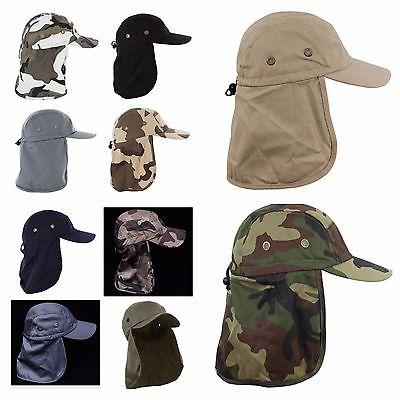 Baseball Cap Fishing Ear Flap Neck Visor Camo Army