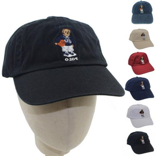 baseball cap polo bear basketball pattern embroidery