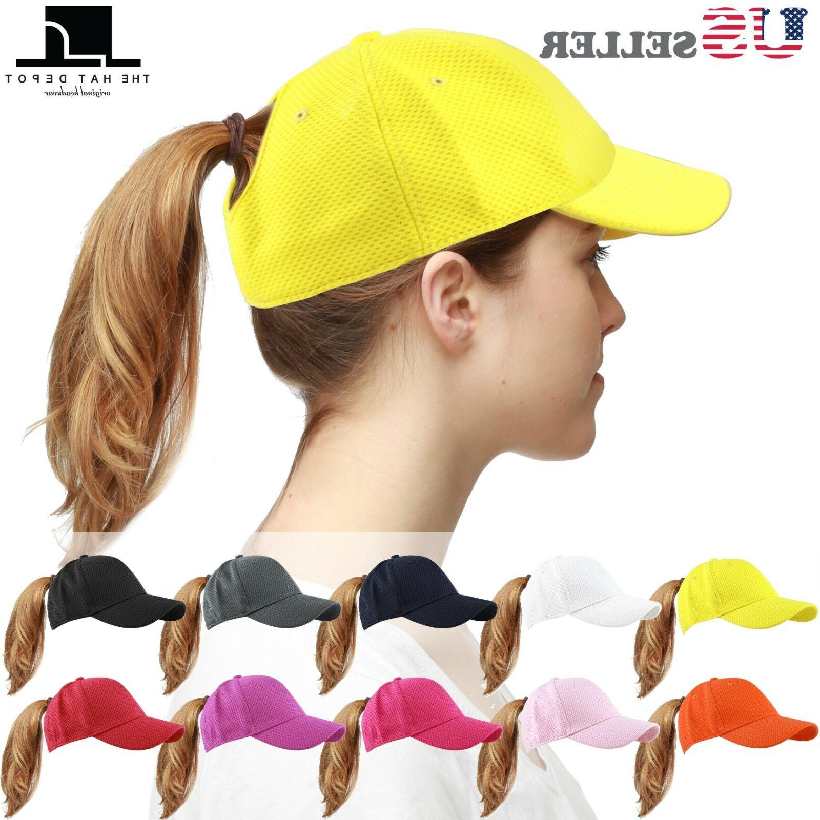 baseball cap ponytail high bun stretch fit