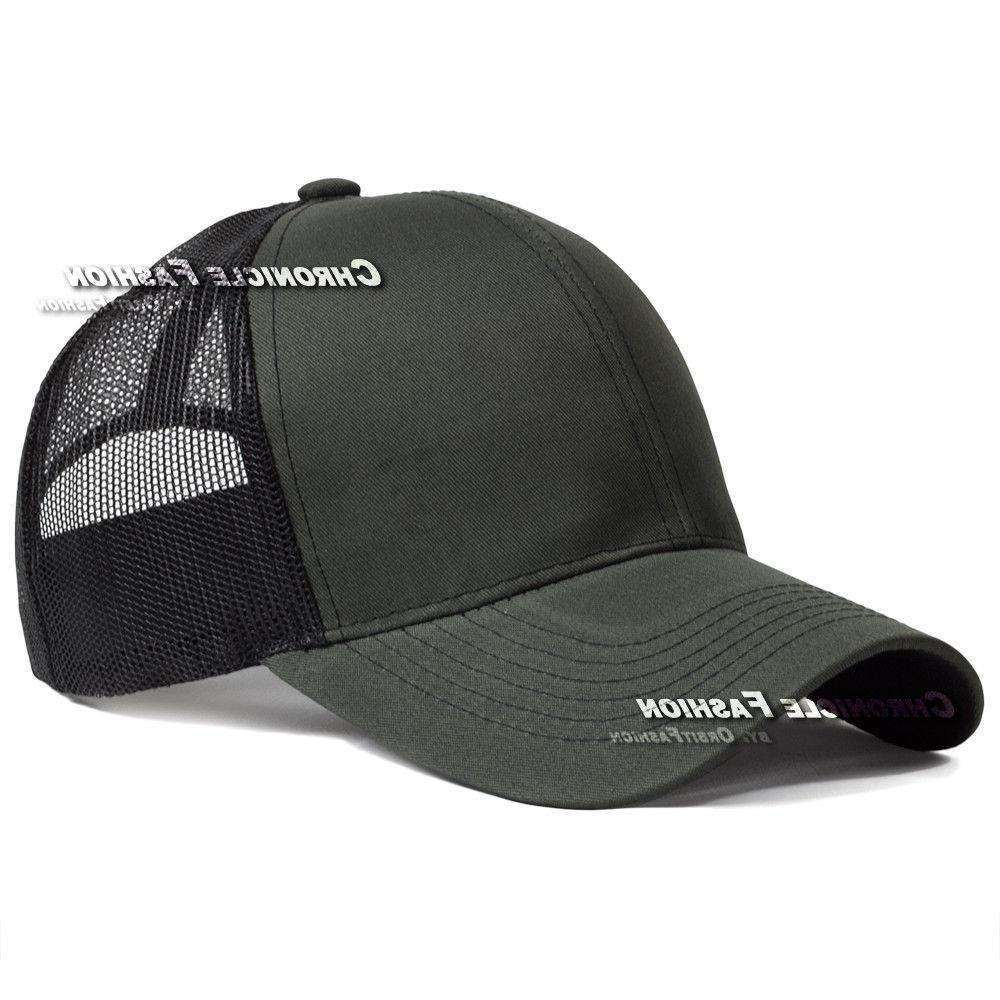Baseball Cap Snapback Solid Mesh Back Plain Hats