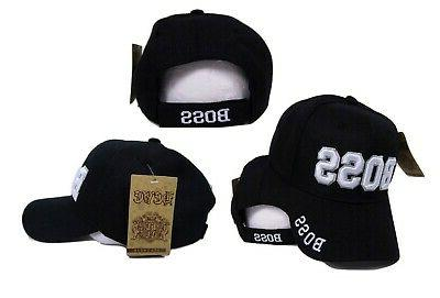 Boss Black With White Letters Embroidered Baseball Cap Hat