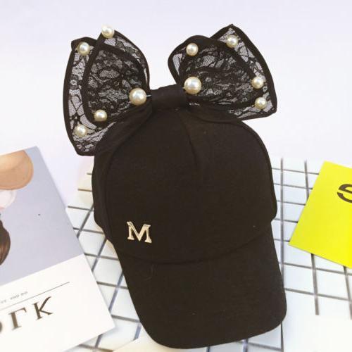 Children Snapback Caps Rabbit Ear Pearl Big Kids Sun Hat