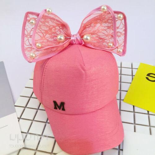 Children Baseball Snapback Caps Pearl Bow Kids Sun Hat