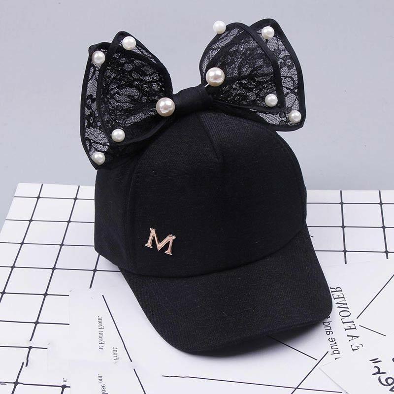 Children Baseball Snapback Ear Pearl Bow Kids Hat