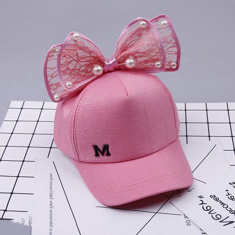 Children Snapback Hip Ear Pearl Bow Kids Sun Hat