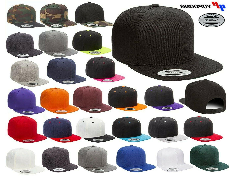 classic snapback baseball cap flat bill adjustable