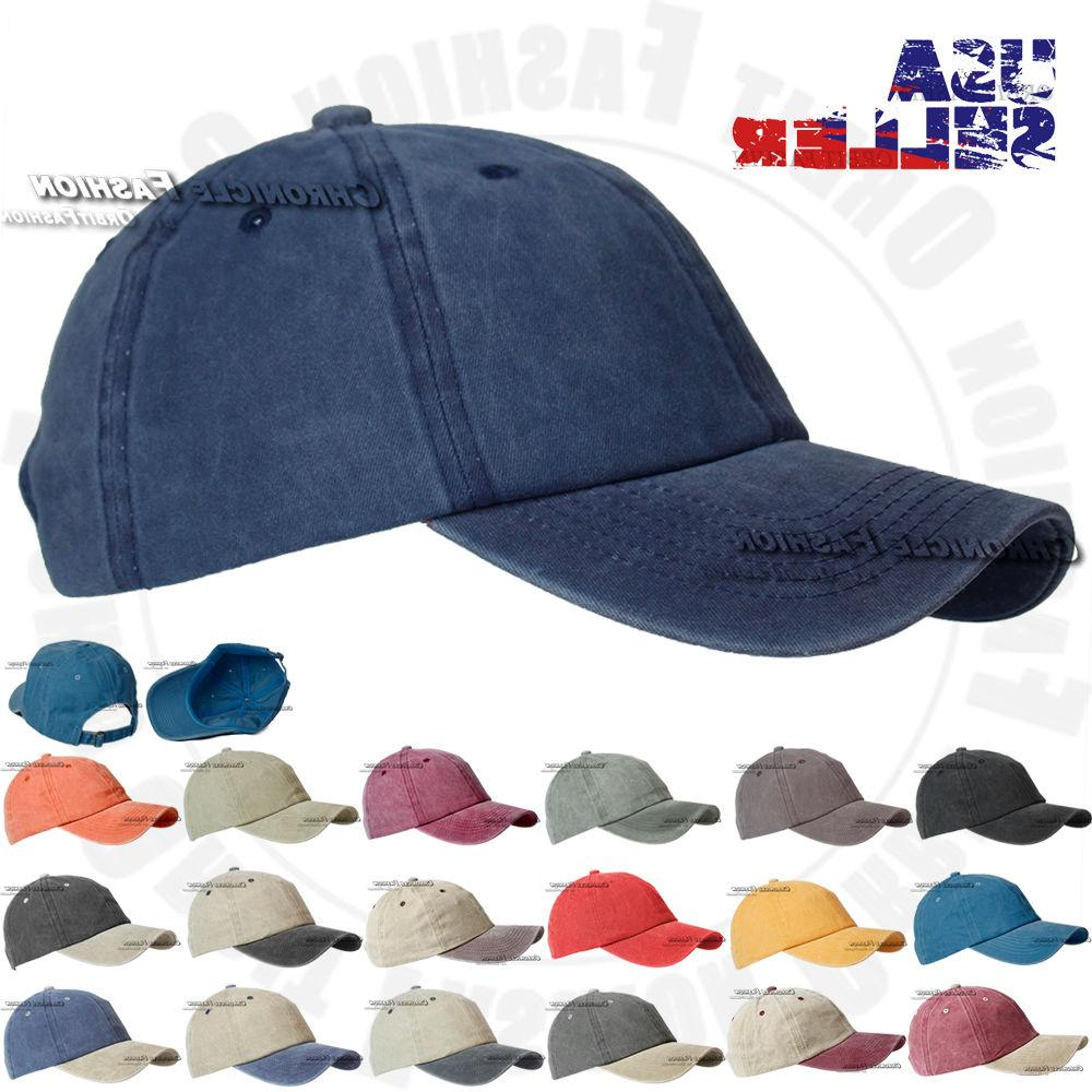 Washed Hat Cap Strapback Adjustable Style Dad Solid Cap